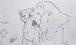Lion and Lioness Sketch by WayfaringPuma