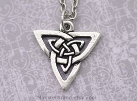 Celtic Knot Open Triangle Necklace by MonsterBrandCrafts