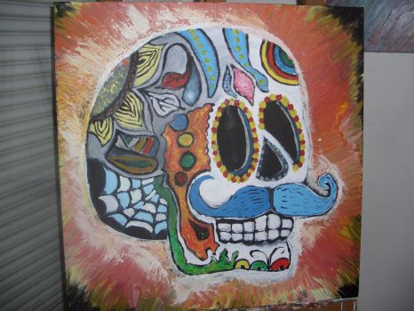 Mexican Skull Head v882 (acrylique) by lv888
