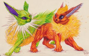 Lovers - Flareon and Shiny Jolteon by Lunewen