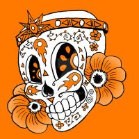 candy skull 5-aztec orange by rawjawbone