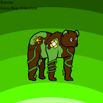 Fakemon - Barrow, The Grass Bear Pokemon by SketchingGames