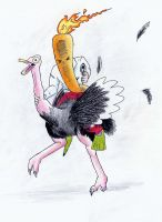 Flaming Carrot on ostrich by arcanineryu