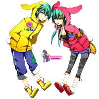 Miku+Mikuo Bunny Render.~ by OhMyPink
