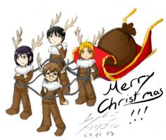 Merry XMas 08- chibi reindeers by ChibiEdo