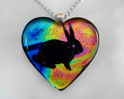 Rainbow Bunny Heart Pendant by HoneyCatJewelry