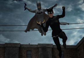 Batman catch the cat by hiram67