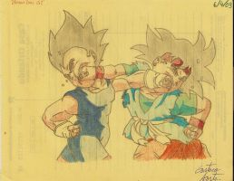 Goku Jr VS Vegeta Jr by elchinoga