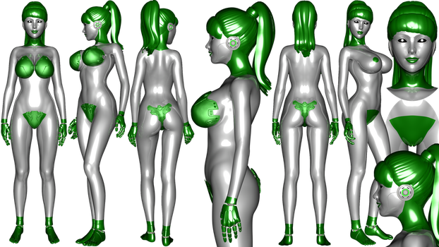 Green simplified Gynoid ref sheet by NukuNookee