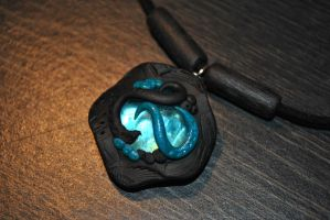 Blue Glass Pendant by KirstenBerryCrafts