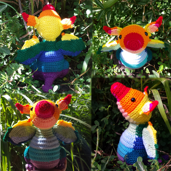 Spectrum the rainbow baby wyvern! by UnbridledMuse