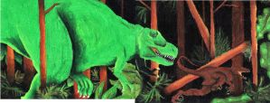 Dinosaur Oil Pastels by shinshu-inu