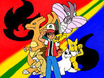 Pokemon trainer Red, Yellow team by Klonoahedgehog