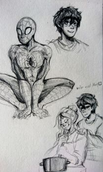 spiderman sketches by Clownmonarch