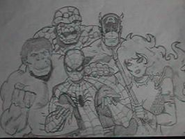Marvel gang in 70's comic add by RCrilly