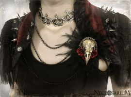 Wearing Feathered Crow Skull Brooch by Necrosarium