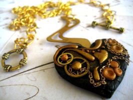 Gold Steampunk Heart Necklace by RoyalKitness