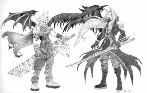 Cloud and Sephiroth by AngelicArt