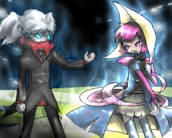 Darkrai and crescelia gijinka by milkybee
