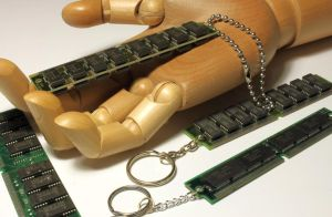 Recycled RAM keyrings by Xerces