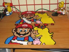mario and peach  perler by ndbigdi