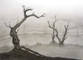 Graphite tree landscape by Nomore4s