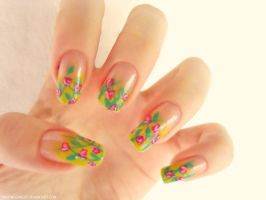 Roses nail art by DancingGinger