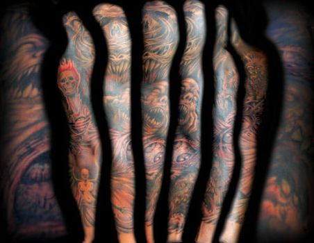 Updated Horror Sleeve Tattoo by Puku