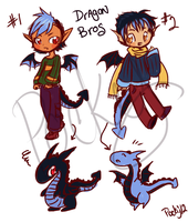 :Sketchy Adopts: Dragon Bros -CLOSED by oddlittleleaf