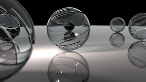Glass Spheres on Plane by Dario999