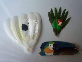 A Flock of Feather Paintings by MadalynC
