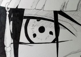 Itachi Uchiha's Sharingan - ink by JamesUchiha