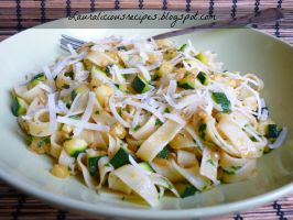 Slightly spicy zucchini pasta with parmesan cheese by China-Dolly