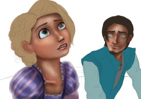 Rapunzel and Flynn - work in progress by Hyzenthlay89