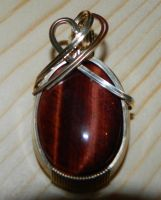 Rescued red tigers eye pendant in Argentium by DPBJewelry