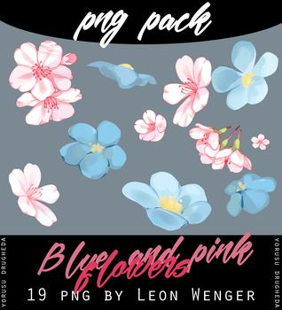 [Png Pack] Pink and blue flowers by leon-wenger