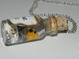 Adventure Time Jake and Finn Bottle Necklace with by Secretvixen