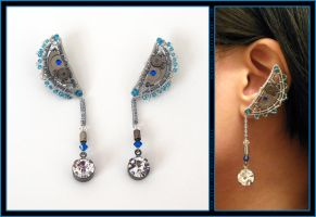 Steampunk Blue Moon ear cuffs by Meowchee