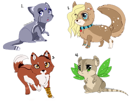 Mixed animal adopts by MagicMoonbeams