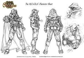 The M.E.G.A.S. Character sheet by CdubbArt