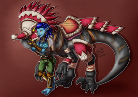 CM - Antyope and her mount by LadyRosse