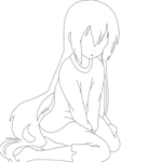 FREE line-art ! Feel free to use (Sad anime girl) by KaylaWaylaLineart