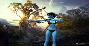 Na'vi Lara with bow by grievousorvenom