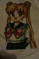 Sailor Moon Cross stitch (Usagi Tsukino) by UnyieldingMadness