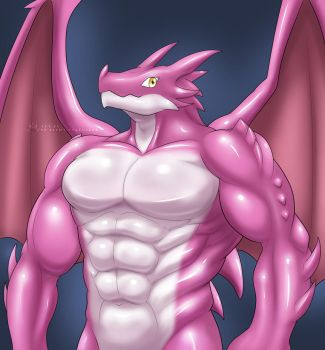Pink Muscle Dragon by St-Alpha