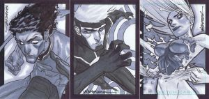 Triple XMen Sketchcards by jeffwamester