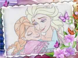 Elsa and Anna hugging. by LaSerenity