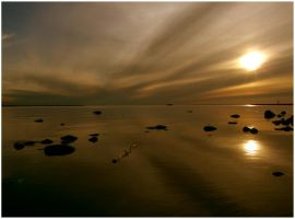 Calm sundown at the harbour by Vorticity