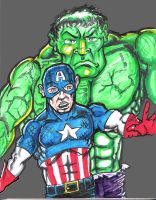 Cap and the hulk by gecko200