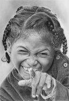 Pencil portrait of a cheeky Madagascan girl by LateStarter63